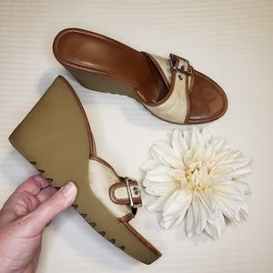 "Coach > ""Terry"" Wedge Sandals Size 10M"